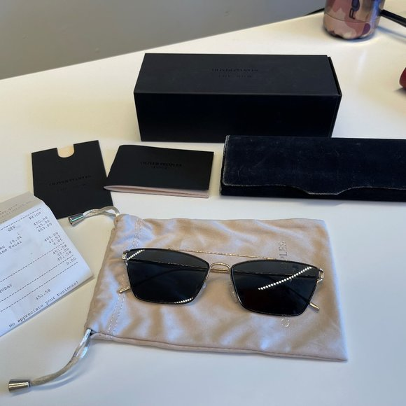 Oliver Peoples Evey in Gold and Dark Green Lense